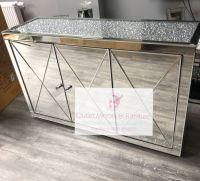 * New Diamond Crush Crystal Mirrored 3 Door Sideboard with crystal handles and diamond crush top