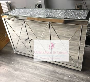 * New Diamond Crush Crystal Mirrored 3 Door Sideboard with crystal handles and diamond crush top in stock