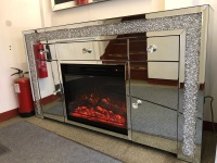 * Diamond Crush Sparkle Mirrored Sideboard in  2 Door 3 draw  with electric fire Built - Pre special price for september delivery