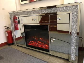 * Diamond Crush Sparkle Mirrored Sideboard in  2 Door 3 draw  with electric fire Built In Stock