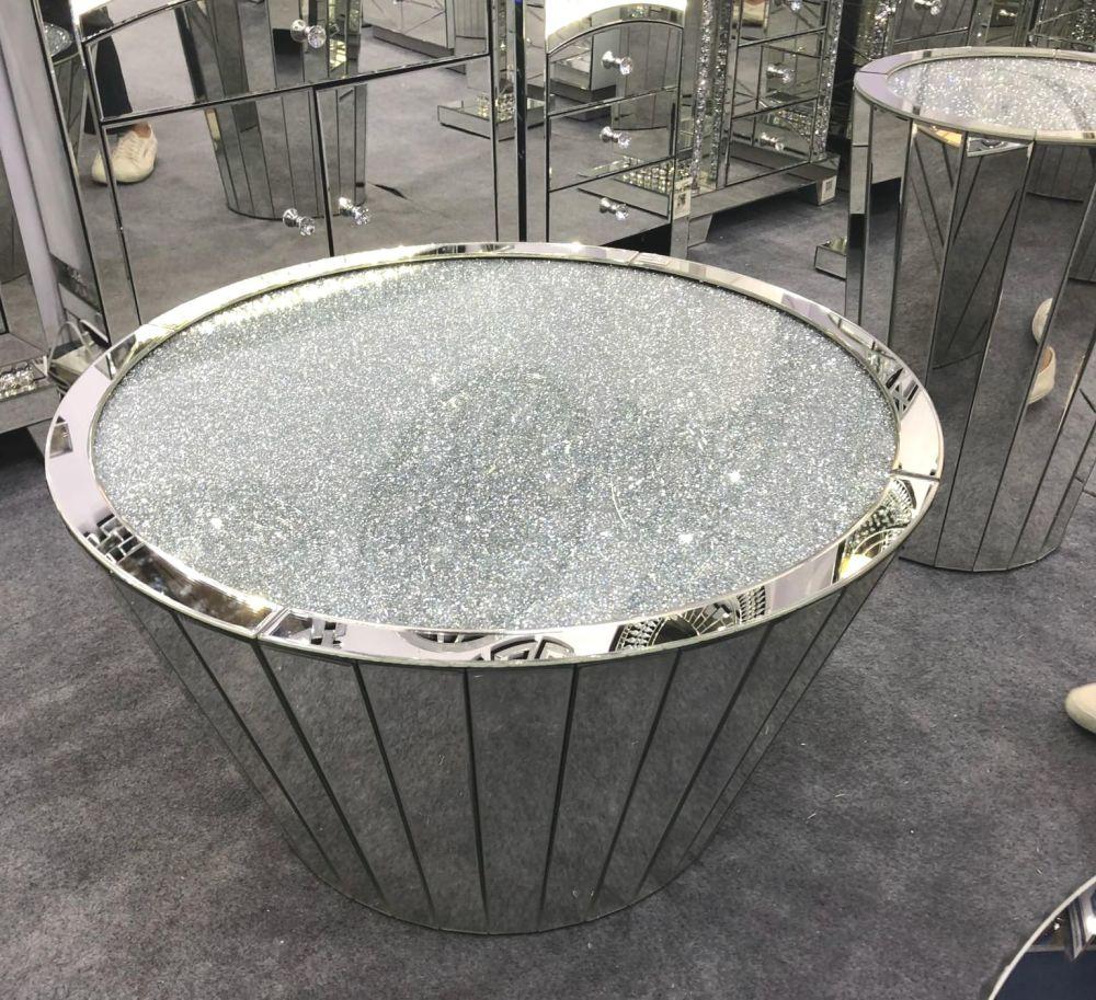 * New Diamond Crush Crystal Sparkle Sphere Coffee Table 90cm dia