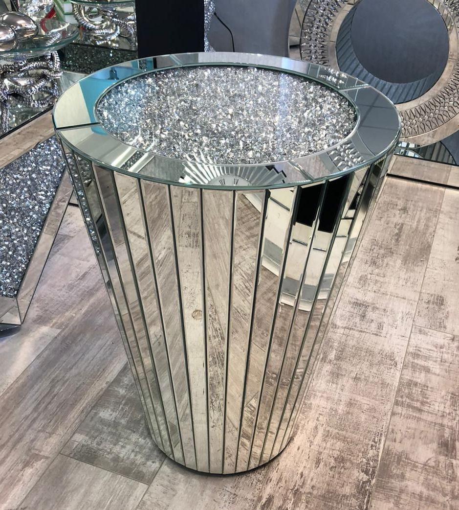 * New Diamond Crush Crystal Sparkle Sphere Lamp Table 66cm