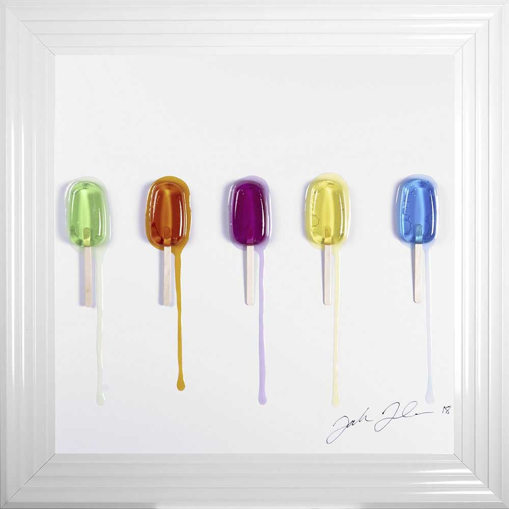 Jake Johnson 3D colourful Ice Lollies  wall art on a white background in ch