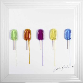 Jake Johnson 3D colourful Ice Lollies  wall art on a white background in choice of frames in stock