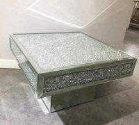 * New Diamond Crush Elegance  Crystal Mirrored Square Coffee Table with DiamonD crush top and Border WAS £599 NOW £369 ITEM SOLD OUT