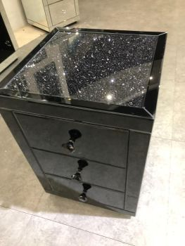 * Monica Diamond Crush Mirrored Black 3 Draw Bedside Chest with a Diamond crush Top