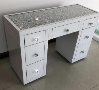 * Monica Diamond Crush Mirrored White  7 Draw Dressing Table with a Diamond crush Top - Stool & Tri fold Mirror - sold out until end of JUNE