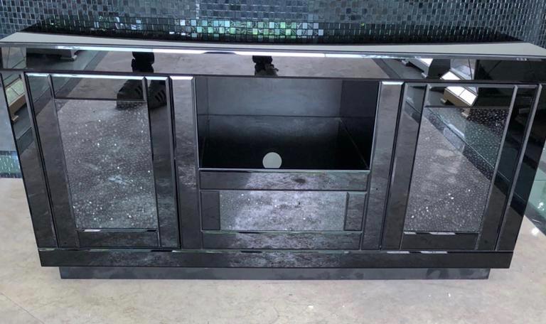 * Diamond Crush Black Mirrored TV Entertainment Unit 120cm stock due End of