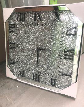 * New Diamond Crush Sparkle Crystal Mirrored Clock 45cm x 45cm instock