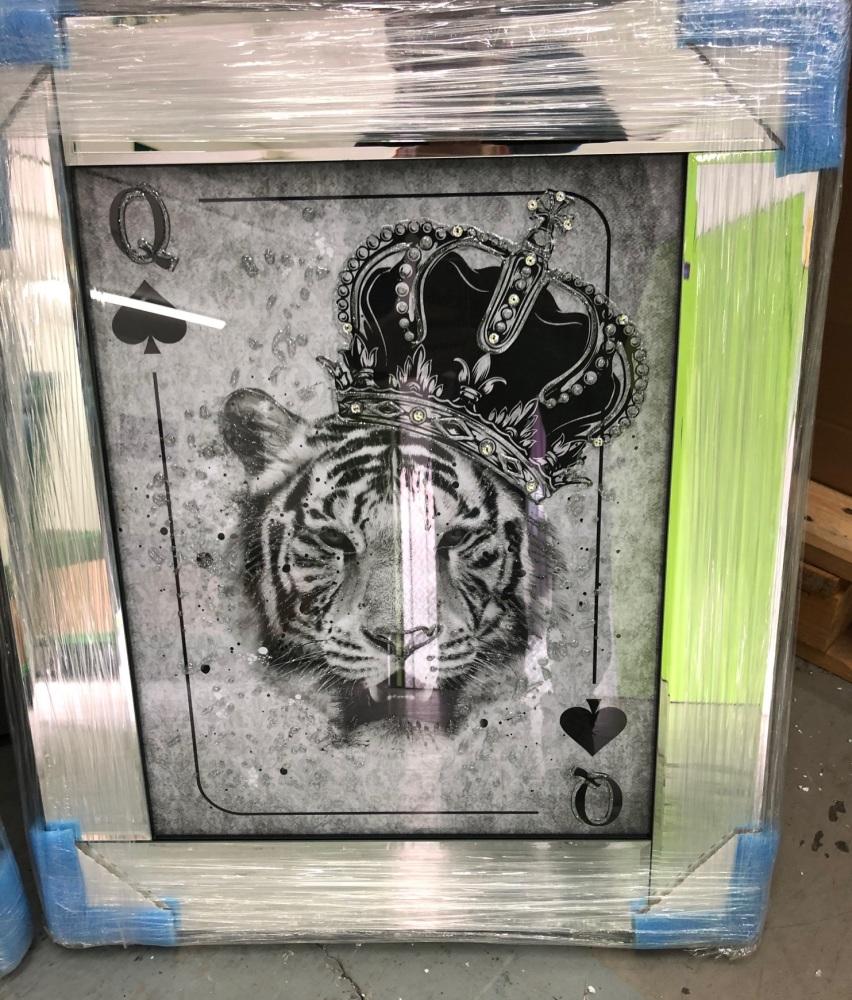 Mirror framed  Playing Card Art Wall Art  Queen  of Heart Lioness  in a mir
