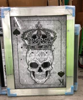Mirror framed  Playing Card Art Wall Art  King of Spades Skull in a mirror frame
