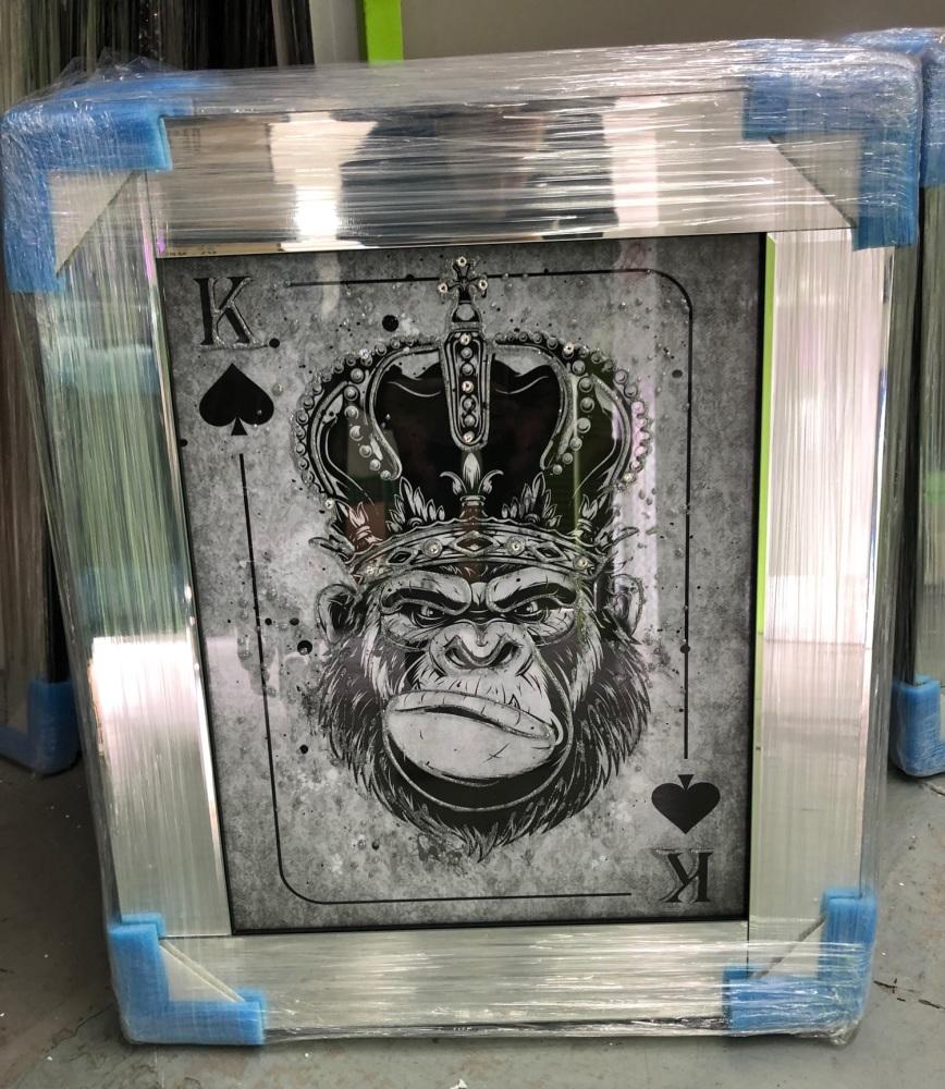 Mirror framed  Playing Card Art Wall Art  King Monkey  in a mirror frame