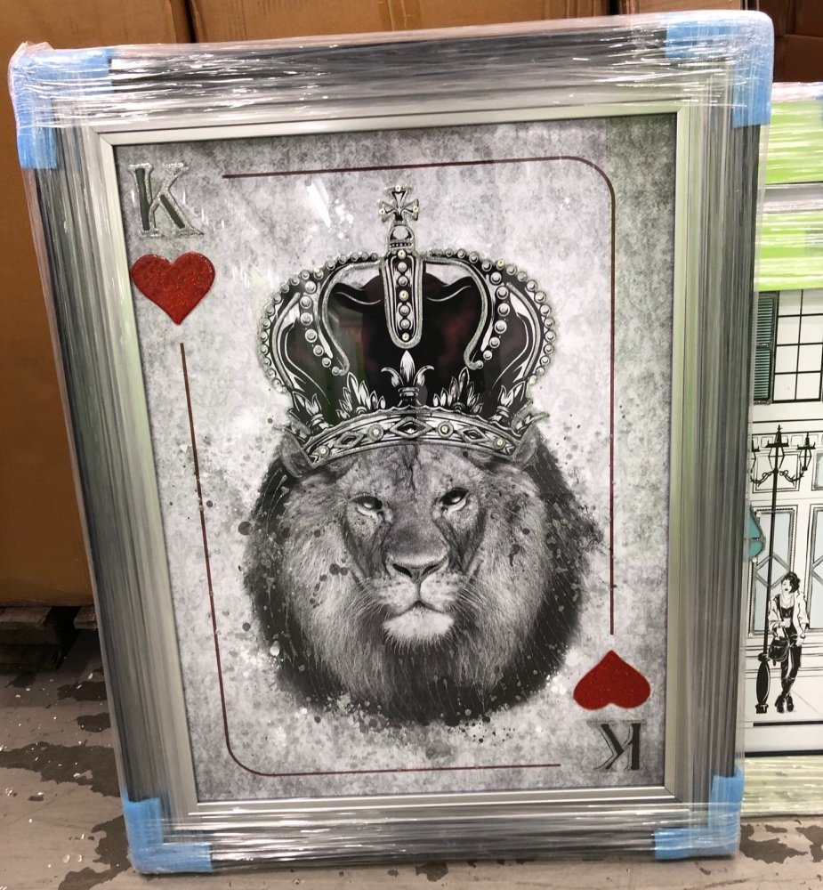 Mirror framed  Playing Card Art Wall Art  King of Heart Lion  in a 2 Tone f