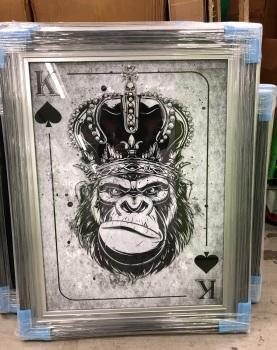Mirror framed  Playing Card Art Wall Art Gorilla King  in a 2 Tone frame