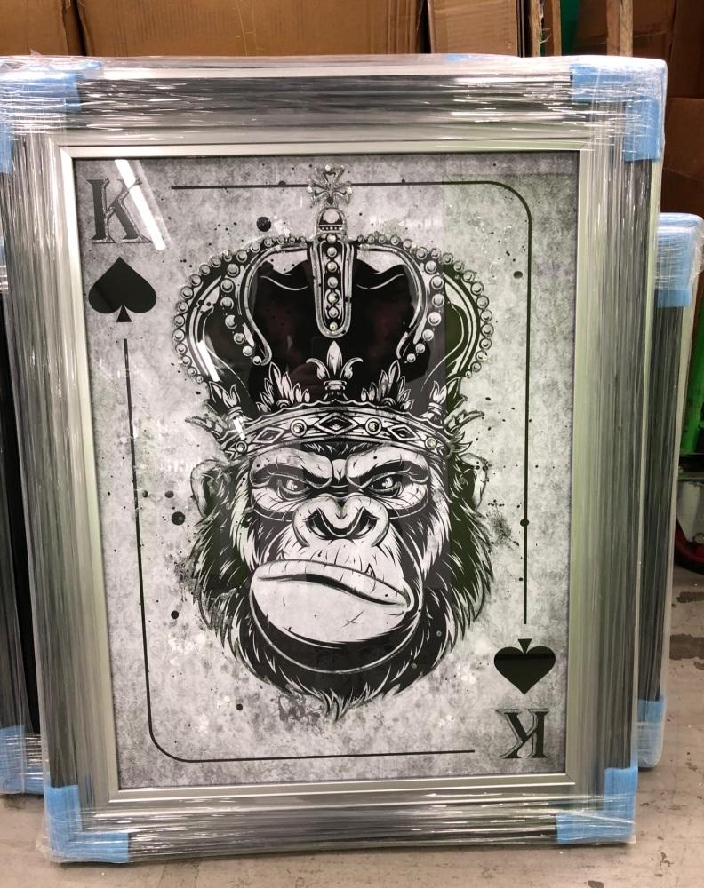 Mirror framed  Playing Card Art Wall Art Monkey King  in a 2 Tone frame