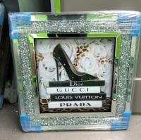 Sparkle Shoe  louis Vuitton, Dior, Prada White Roses Wall Art in a diamond crush frame in stock