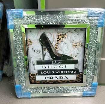 Sparkle Shoe  louis Vuitton, Dior, Prada White Roses Wall Art in a diamond crush frame