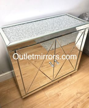 * New Diamond Crush Crystal Mirrored 2 Door Sideboard with crystal handles and diamond crush top item sold out until september back orders now being t