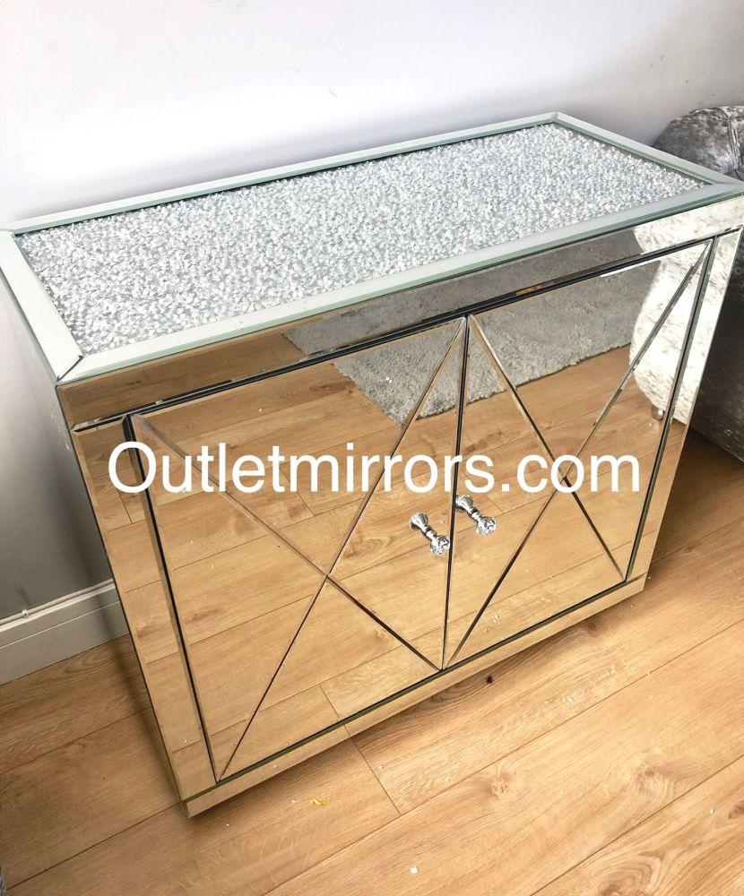 * New Diamond Crush Crystal Mirrored 2 Door Sideboard with crystal handles