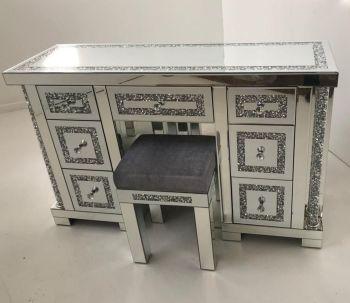 * Diamond Crush Mirrored Pillar 7 Draw Dressing Table with stool