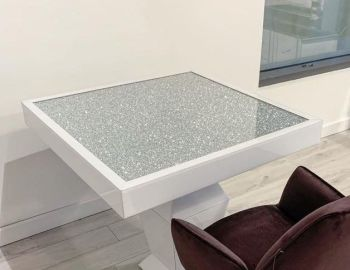 * Elegance Diamond Crush Sparkle Mirrored White Square Dining Table