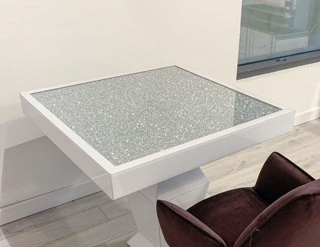 * Diamond Crush Sparkle Mirrored White Square Dining Table