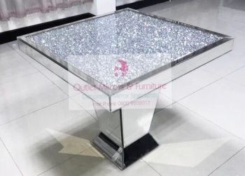 "* Diamond Crush Sparkle Mirrored Square Dining Table ""Elegance"" out of stock until  september"