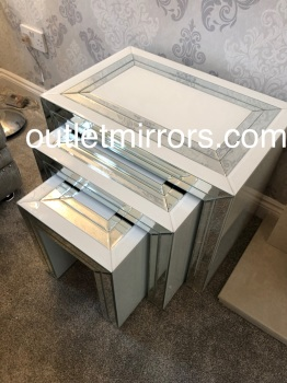 Bianco White & Mirrored Nest of Tables in stock