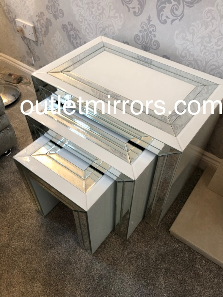 Bianco White & Mirrored Nest of Tables
