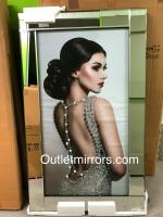 "Mirror framed Sparkle Liquid Art ""Glamour Lady 6"""