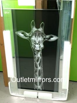 """Mirror framed art """"Giraffe"""" 100cm x 60cm"""