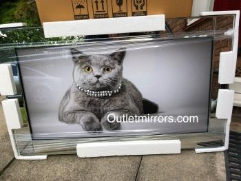 "Mirror framed art print "" Sparkle Cat"" 100cm x 60cm"
