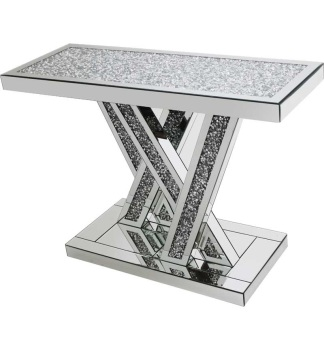 *Diamond Crush crystal Sparkle Shards Console Table with diamond crush top