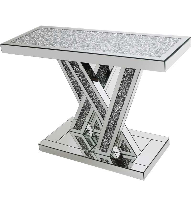 *Diamond Crush crystal Sparkle Shards Console Table with diamond crush top