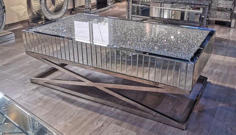 *New Diamond Crush Elegance Crystal Mirrored Rectangular Coffee Table with