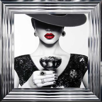 "Chrome framed Liquid Art ""Cocktail Hat Lady 2"" 55cm x 55cm"