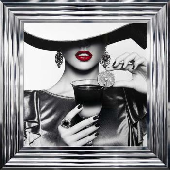 "Chrome framed Liquid Art ""Cocktail Hat Lady 3"" 55cm x 55cm"
