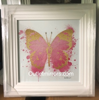 "White stepped framed ""Sparkle Butterfly Blush Pink & Gold"" Wall Art"