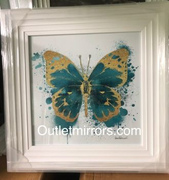 "White stepped framed ""Sparkle Butterfly Teale Blue & Gold"" Wall Art"