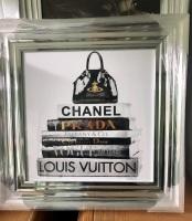 """""""Sparkle Handbag (2)"""" Wall Art in a chrome frame"""