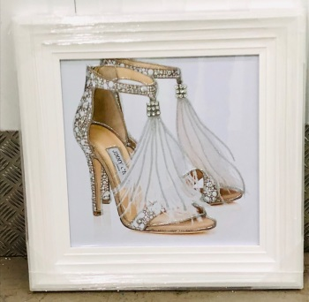 """Glitter Sparkle Jimmy Choo Shoes"" in white stepped  frame"