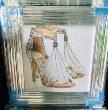 """Glitter Sparkle Jimmy Choo Shoes"" in a Chrome stepped  frame"