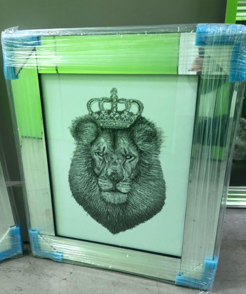 Mirror framed  Sparkle Lion  in a mirror frame  55cm x 65cm