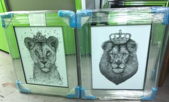 Mirror framed Sparkle Lion & Lioness Wall Art  65cm x 55cm