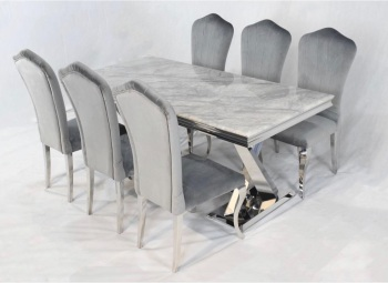 Aztec Grey Marble Table 1800mm