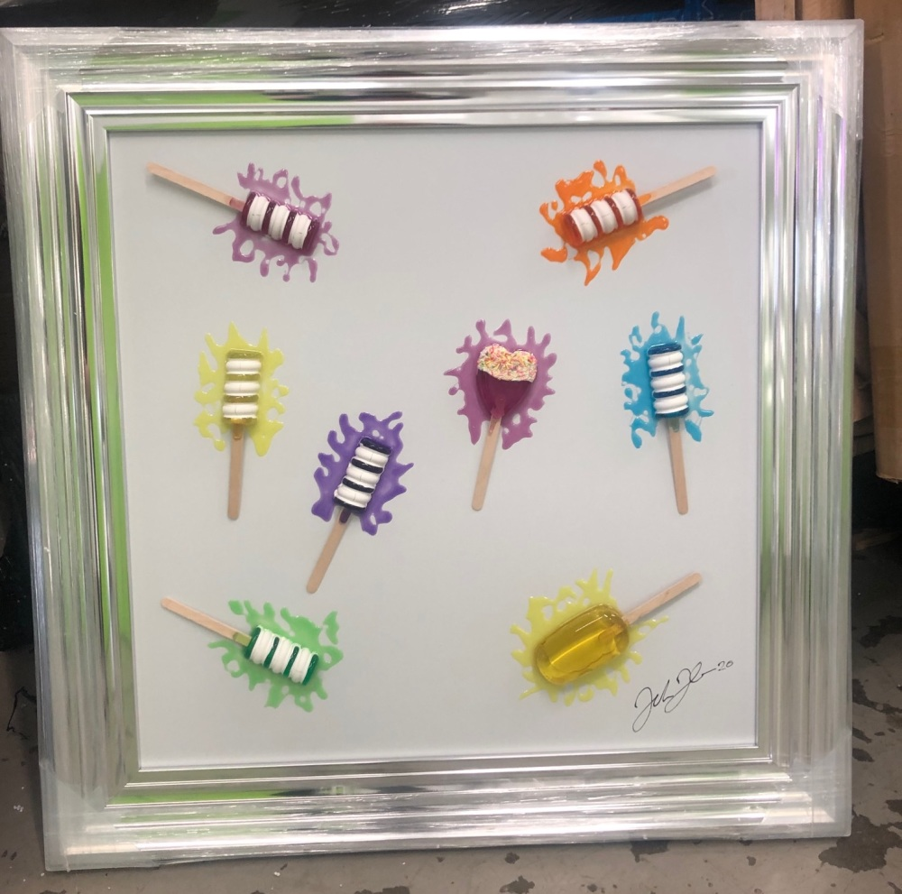 Jake Johnson 3D colourful Ice Pops wall art on a white gloss background in
