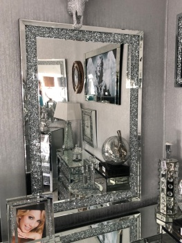 *special offer* New Diamond Crush Sparkle Wall Mirror 100cm x 70cm instock for fast delivery