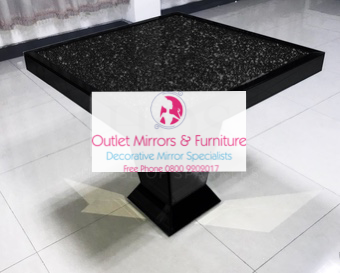 * Elegance Diamond Crush Sparkle Mirrored Black Square Dining Table