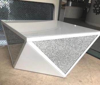 Diamond crush Prism coffee table in White in stock