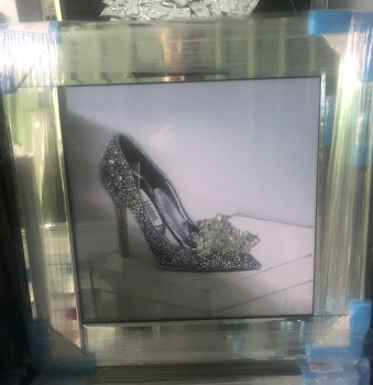 "Mirror framed ""Sparkle Shoe"" Wall Art in a mirror frame"
